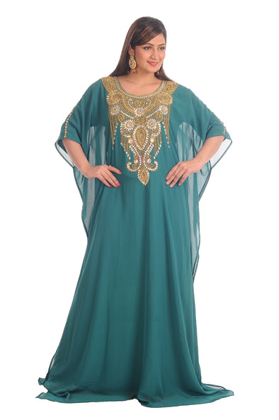 Rama Green Farasha Boho Embroidered Dress - Maxim Creation