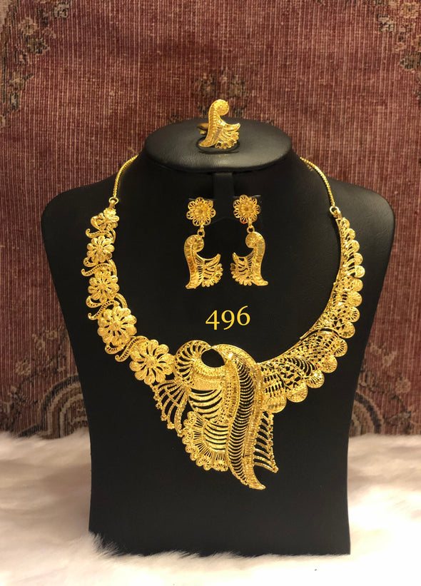 HANDCRAFTED PEACOCK CHOKER NECKLACE SET 496