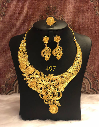 HANDCRAFTED LEAF WITH FLOWER CUT WORK NECKLACE SET 497 - Maxim Creation