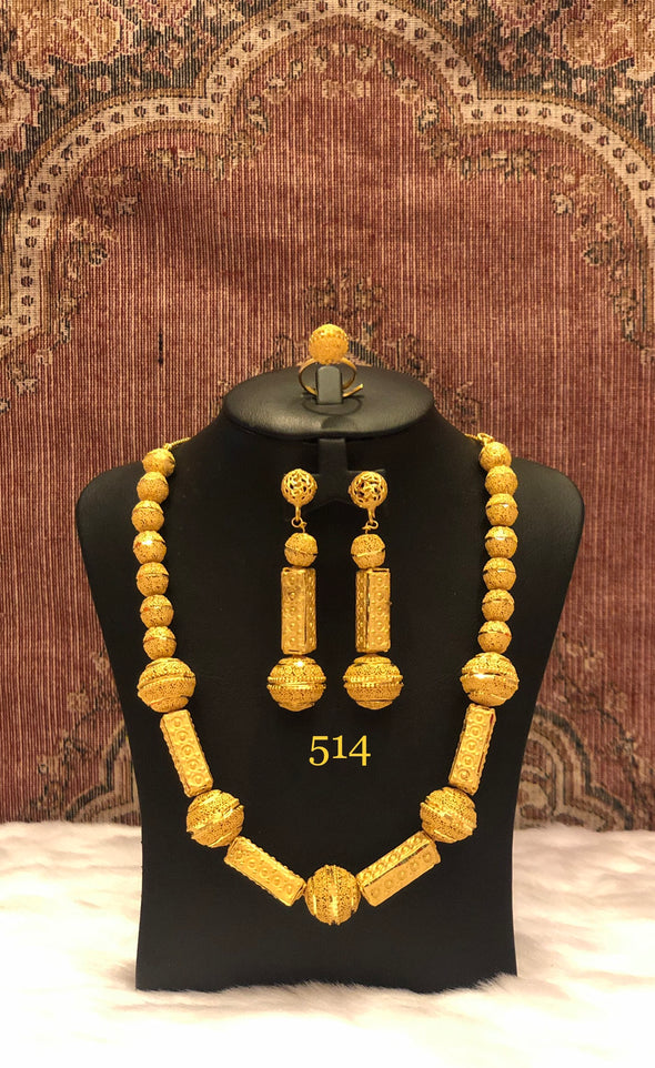 GOLD BEADED LONG CHAIN NECKLACE SET 514 - Maxim Creation