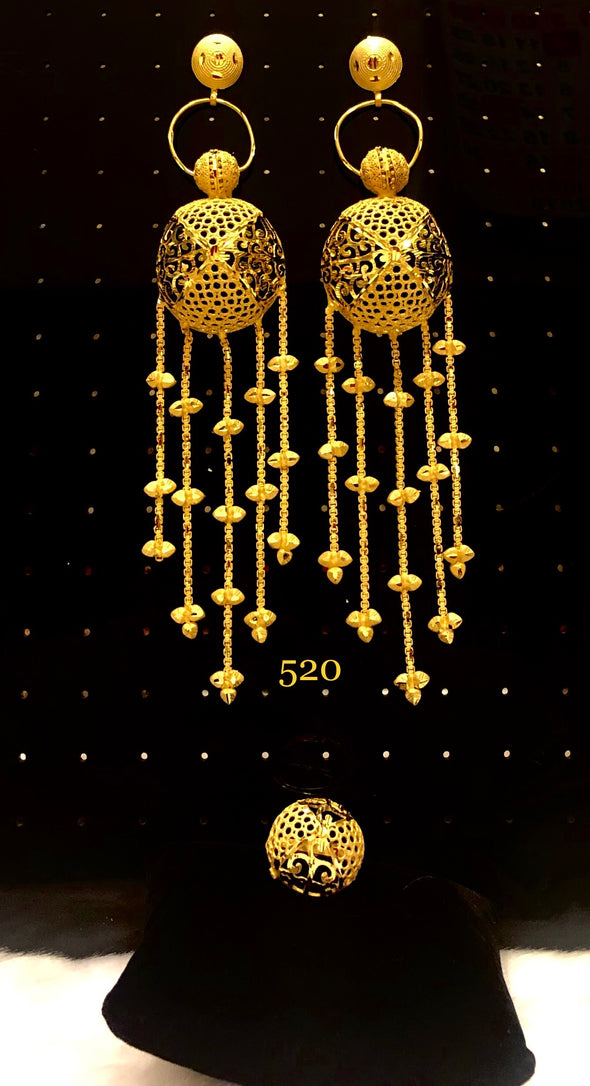 GOLD PLATED CUT WORK DANGLE AND TASSELS DROP EARRING 520