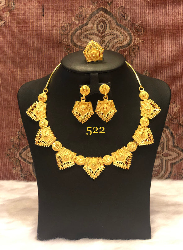 GOLD PLATED HEXAGON SHAPED WITH CIRCLE NECKLACE SET 522