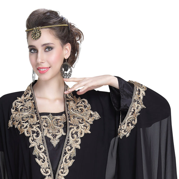 Moroccan Caftan with Golden Machine Embroidery - Maxim Creation