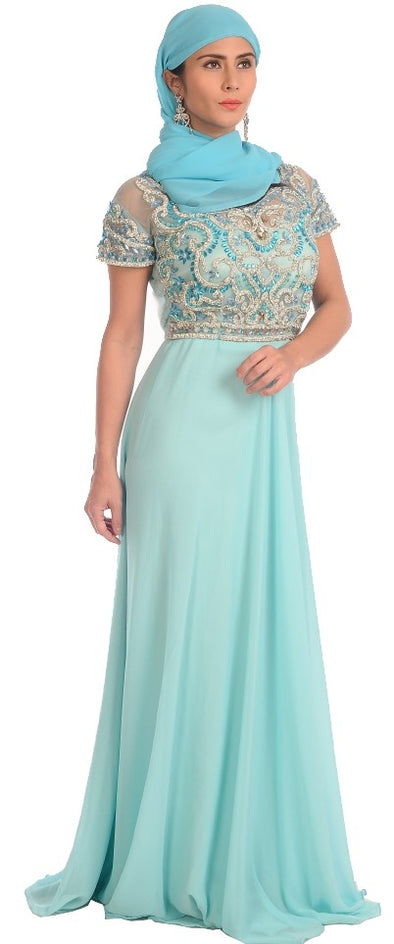 SHORT SLEEVE PROM DRESS SKY BLUE MAXI - Maxim Creation