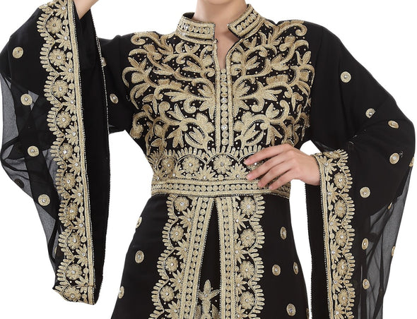 TRADITIONAL ALGERIAN KAFTAN PARTY DRESS - Maxim Creation