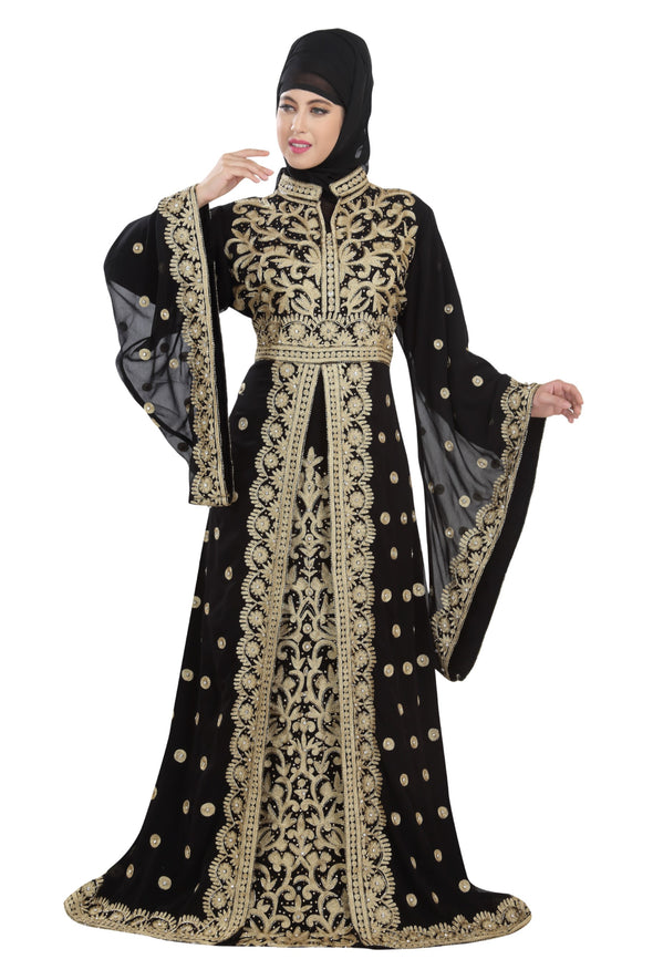 TRADITIONAL KAFTAN DESIGNER KHALEEJI THOBE DRESS - Maxim Creation