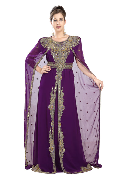 Dubai Kaftan with Long Cape Sleeveless Maxi - Maxim Creation