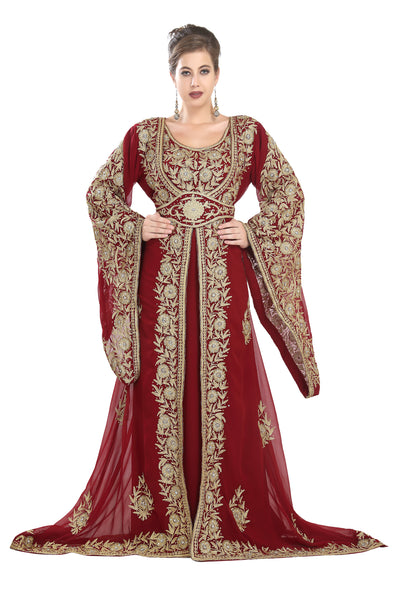 BELL SLEEVE TRADITIONAL DUBAI KAFTAN WEDDING GOWN