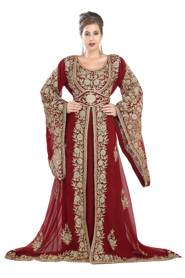 BELL SLEEVE TRADITIONAL DUBAI KAFTAN WEDDING GOWN - Maxim Creation