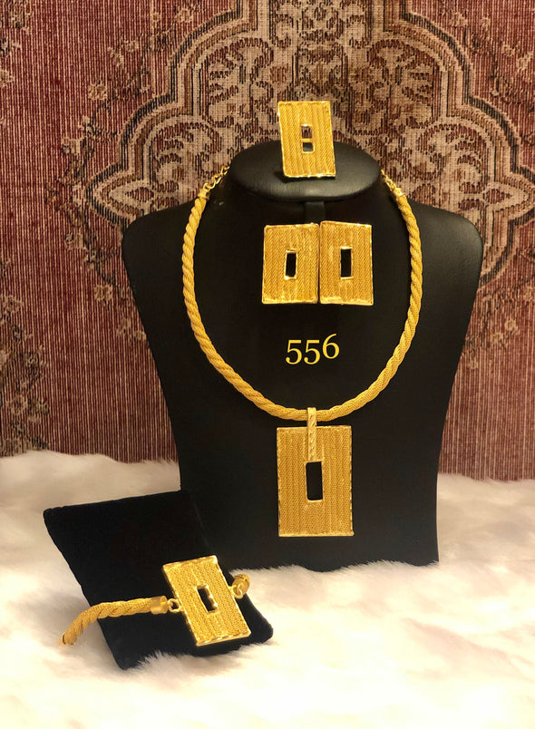 NECKLACE SET WITH TWO RECTANGLE PENDANT 556 - Maxim Creation