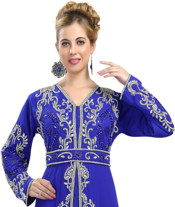LUXE CRYSTAL KAFTAN SEQUINS EMBROIDERY DRESS