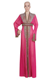 PINK EMBROIDERED OVER COAT HAND MADE JACKET SEQUINS CARDIGAN ABAYA KURTI