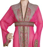 PINK BLACK EMBROIDERED OVER COAT HAND MADE JACKET SEQUINS CARDIGAN ABAYA KURTI