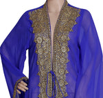 GOLDEN HAND EMBROIDERED JACKET SEQUINS CARDIGAN ABAYA KURTI