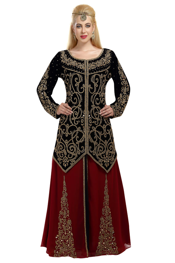Black Maroon Embroidered Velvet Fabric Bridal Wedding Gown - Maxim Creation