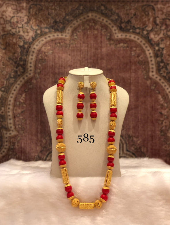 GOLD AND RED SHELL BEADED LONG NECKLACE SET 585R - Maxim Creation