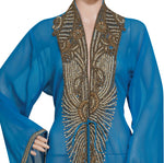 BLUE EMBROIDERED OVERCOAT HAND MADE JACKET SEQUINS CARDIGAN ABAYA KURTI