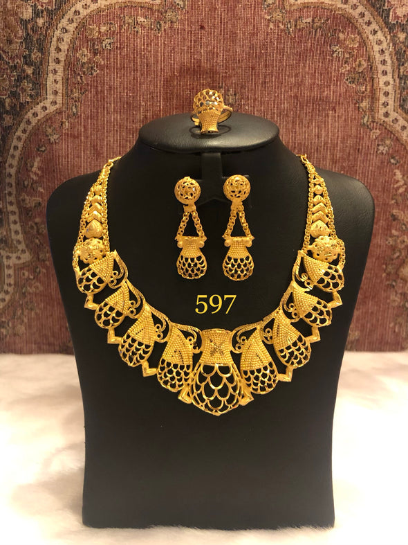 GOLD PLATED MANGO SHAPE CUT WORK NECKLACE SET 597