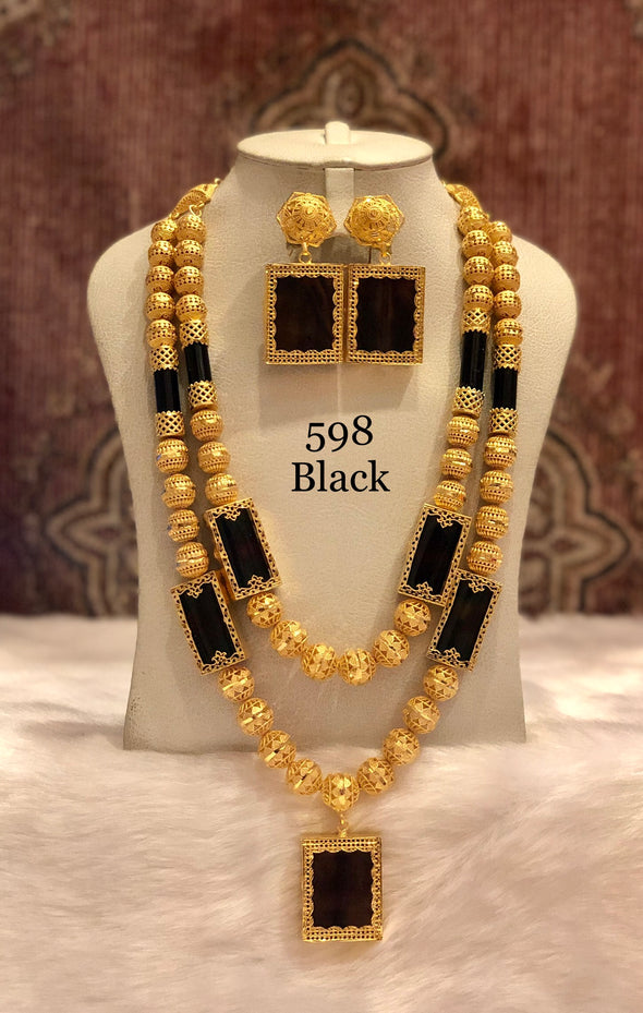 TRADITIONAL LONG GOLD SHELL WITH BLACK RECTANGLE 2 PIECE NECKLACE SET 598B - Maxim Creation