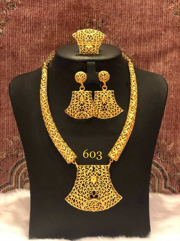 CUT WORK TRUNCATE FISH SHAPE NECKLACE SET 603 - Maxim Creation