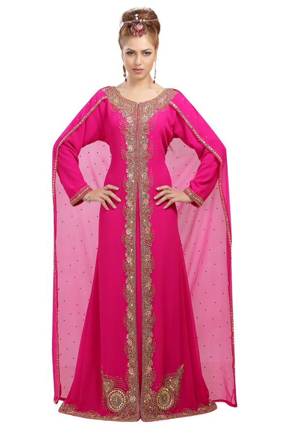 Dubai Kaftan with Cape Embroidered Wedding Dress - Maxim Creation