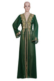 GREEN EMBROIDERED OVERCOAT HAND MADE JACKET SEQUINS CARDIGAN ABAYA KURTI