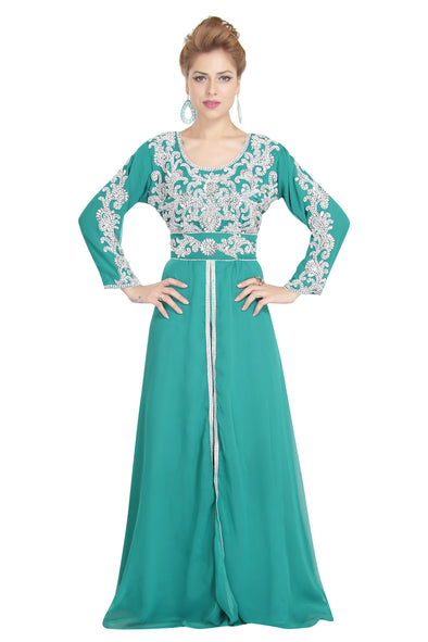Ramadan Green French Takchita Abaya - Maxim Creation