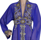 ROYAL BLUE HAND EMBROIDERED JACKET SEQUINS CARDIGAN ABAYA KURTI