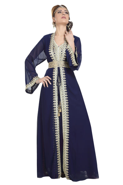 KAFTAN WITH GOLDEN LACE WORK - Maxim Creation