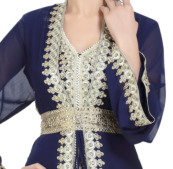 DUBAI JALABIYA WITH GOLDEN LACE WORK 6443