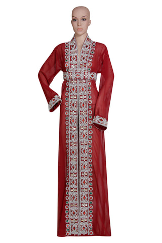 RED EMBROIDERED OVER COATHAND MADE JACKET SEQUINS CARDIGAN ABAYA KURTI