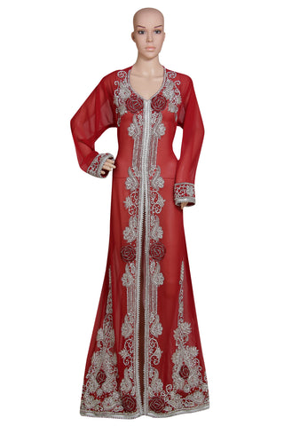 RED MAXI GOWN HAND EMBROIDERED JACKET SEQUINS CARDIGAN ABAYA KURTI