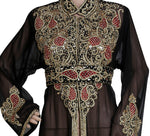 BLACK EMBROIDERED OVER COAT HAND MADE JACKET SEQUINS CARDIGAN ABAYA KURTI