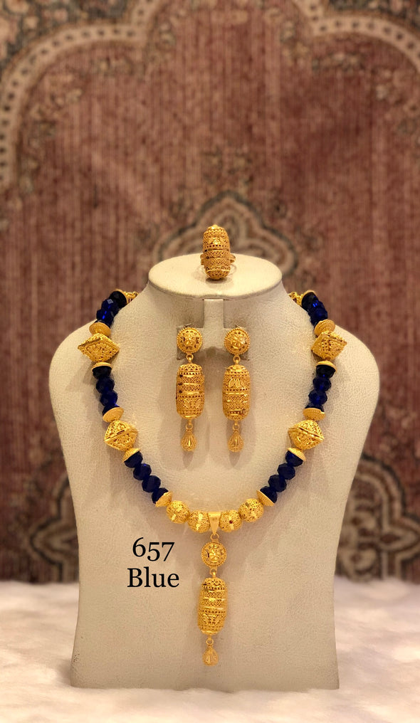 GOLD PLATED WITH BLUE CRYSTAL SHELL NECKLACE SET 657 - Maxim Creation