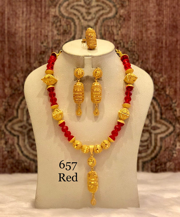 GOLD PLATED WITH RED CRYSTAL SHELL NECKLACE SET 657R - Maxim Creation