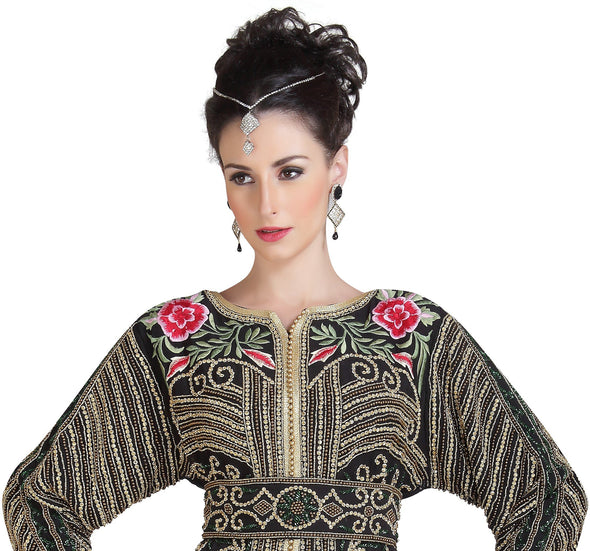 Heavily Embroidered Dubai Caftan Golden Beads & Embellishments - Maxim Creation