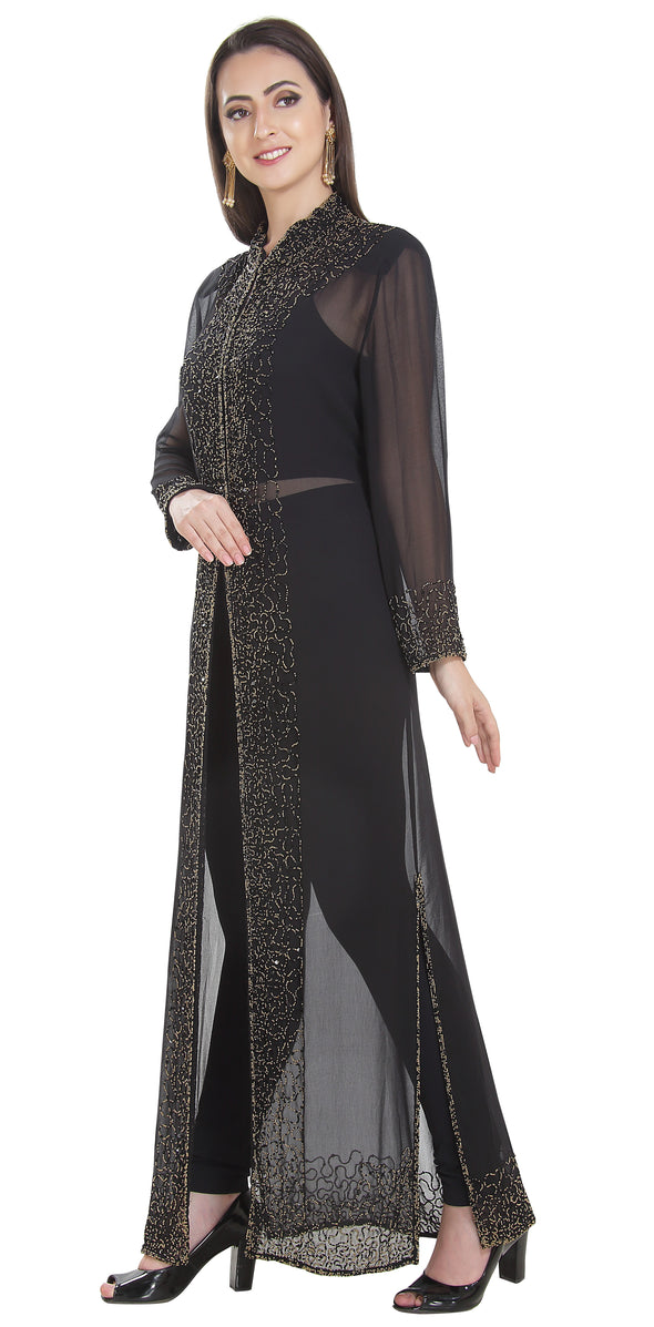 Long Overcoat Jacket With Embroidery - Maxim Creation