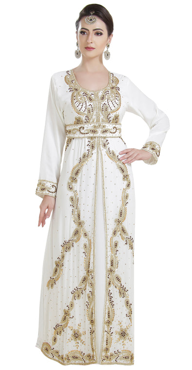 Arabian Kaftan With Golden Embroidery - Maxim Creation