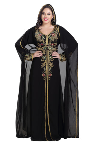SUPERMAN CAPE DRESS FOR WOMEN BLACK EMBROIDERED MAXI