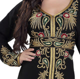 EMBROIDERED SUPERMAN CAPE DRESS FOR WOMEN BLACK EMBROIDERED MAXI