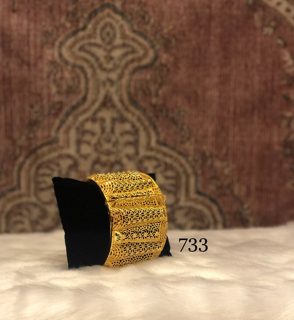 FLORAL CUT WORK LATTICE DESIGN CUFF BRACELET BANGLE 733 - Maxim Creation