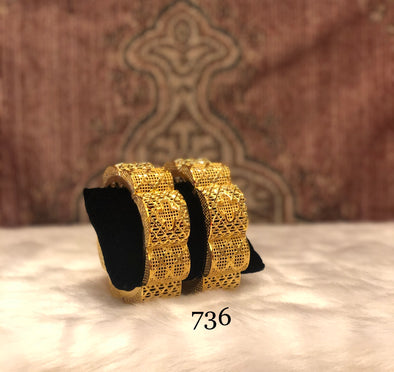 GOLDEN SEMI CIRCLE RETRO TRENDY BANGLE FOR LADIES 736 - Maxim Creation