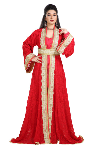 BRIDAL ROBE RED EMBROIDERED DRESS - Maxim Creation