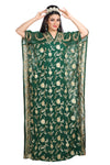 Bottle Green Full Embroidered Farasha Maxi - Maxim Creation