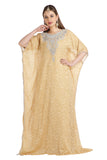 Beige Party Caftan Brasso Printed Maxi Gown