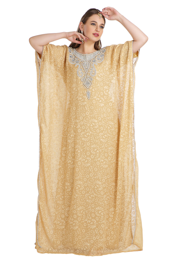 Beige Party Caftan Brasso Printed Maxi Gown - Maxim Creation