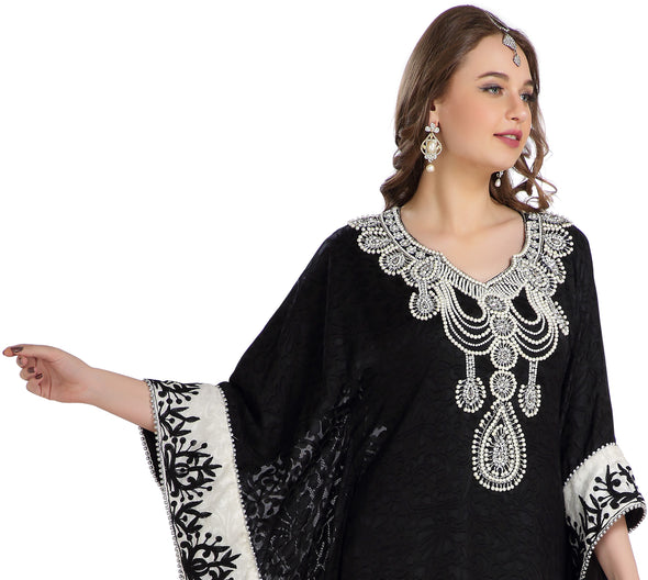 Embossed Fabric Printed Brasso & Silver Hand Work Kaftan Abaya - Maxim Creation