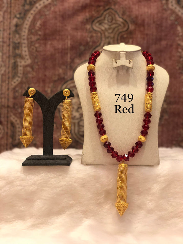 RED CRYSTAL AND GOLD PLATED NECKLACE SET 749 - Maxim Creation