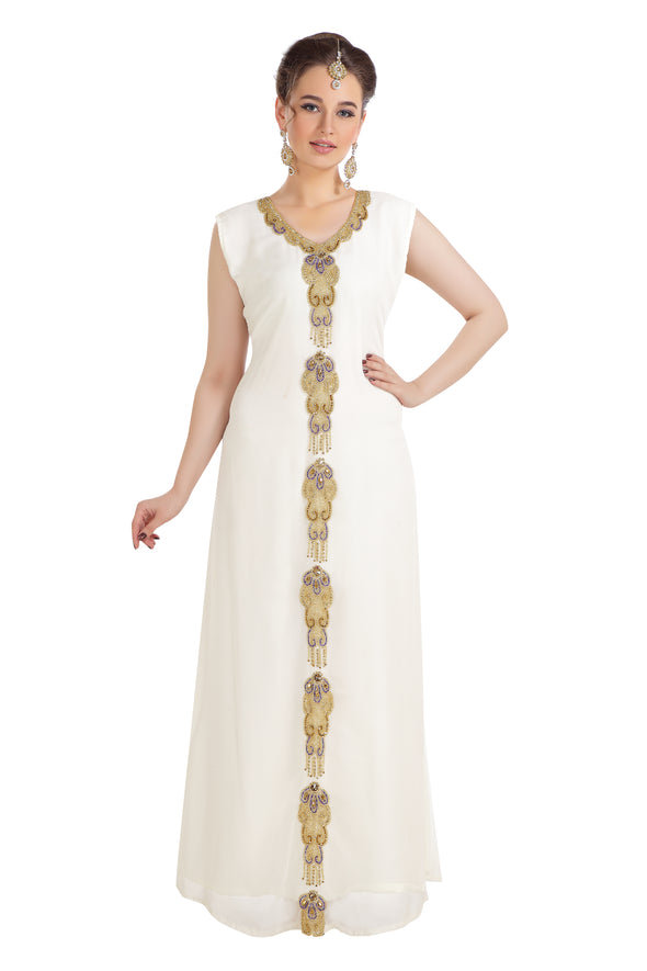 Wedding Gown 3 piece Set Hand Embroidered Maxi Dress 7807