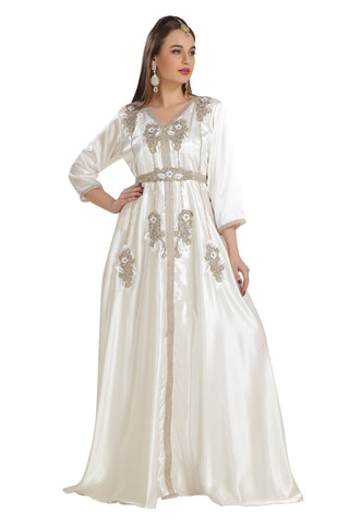 White Satin Wedding Gown Hand Embroidered Rhinestones